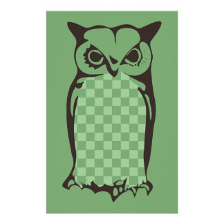 Checkerboard Owl Stationery-Yellow Green Stationery