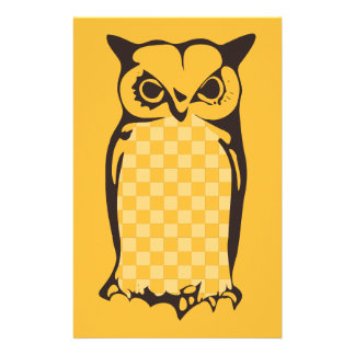 Checkerboard Owl Writing Paper-Yellow Stationery