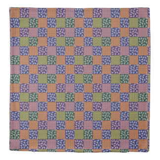 Checkerboard Paisley Patchwork Pattern Duvet Cover