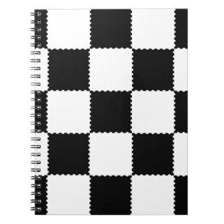 checkerboard pattern spiral notebook