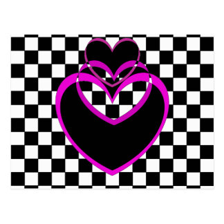 Checkerboard Popart Heart Purple Hearts Valentines Postcard