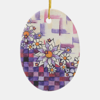 Checkerboard Purple Daisy Spray Ceramic Ornament