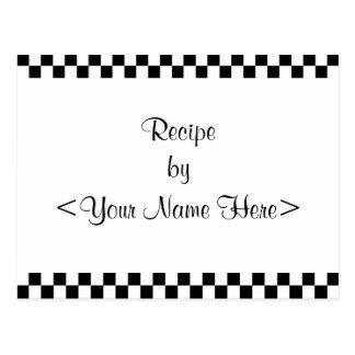 Checkerboard Recipe Cards 4 x 6 Postcard
