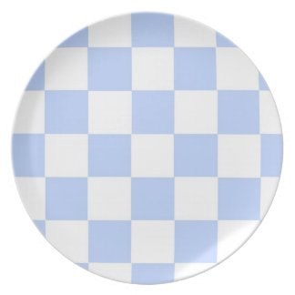 Checkered Baby Blue Dinner Plates