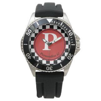 Checkered Background Clock Watch