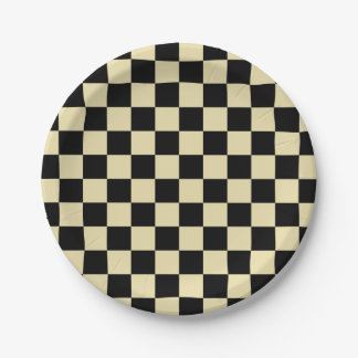 Checkered Beige and Black Paper Plate