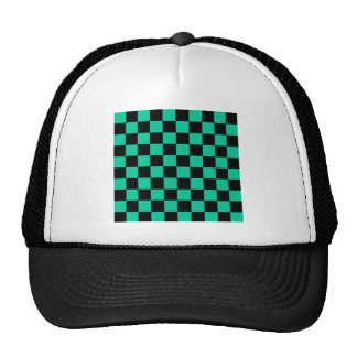 Checkered - Black and Caribbean Green Trucker Hat