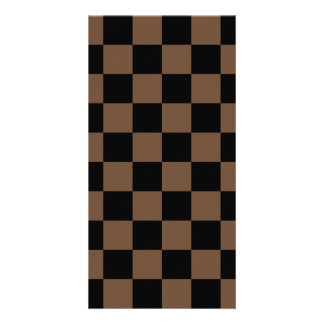 Checkered - Black and Coffee Customized Photo Card