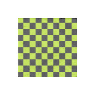 Checkered - Black and Fluorescent Yellow Stone Magnets