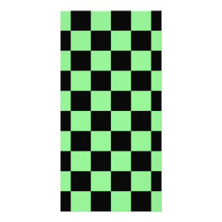 Checkered - Black and Light Green Customized Photo Card