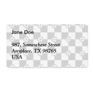 Checkered black and white with soccer balls shipping label