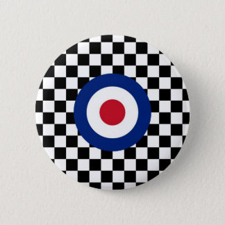Checkered Black Racing Target Mod 2 Inch Round Button