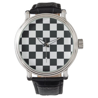 Checkered Black White Chess Classy Elegant Cool Watch