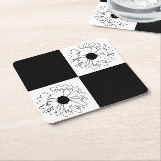 Checkered Black & White Flower Coaster