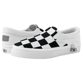 Checkered Black White Minimal Chess Pattern Cool Slip-On Sneakers