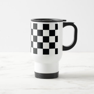 Checkered Black White Minimal Chess Pattern Cool Travel Mug