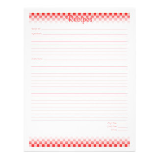 Checkered Board Recipe Pages