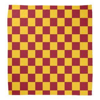 Checkered Burgundy and Gold Bandana