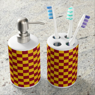 Checkered Burgundy and Gold Soap Dispenser And Toothbrush Holder