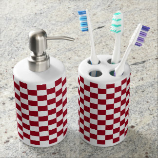 Checkered Burgundy and White Soap Dispenser And Toothbrush Holder
