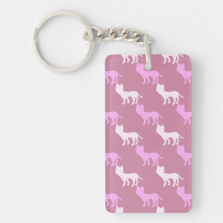 Checkered Cat Double-Sided Rectangular Acrylic Keychain