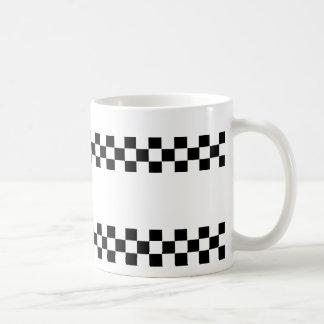 Checkered Checkers Black White Mug