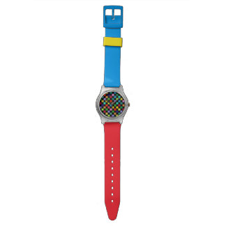 checkered color pattern watch