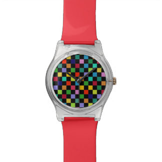 checkered color pattern wristwatch
