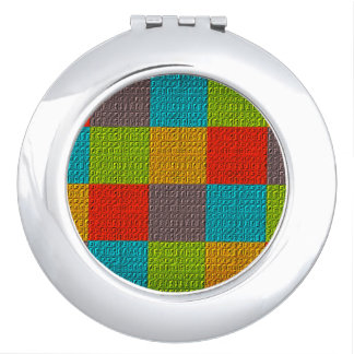 Checkered Colorful Bright Vibrant Emboss Pattern Compact Mirror