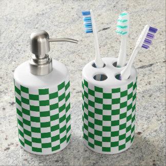 Checkered Dark Green and White Bathroom Set