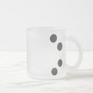 Checkered DarkGrey Dots Frosted Glass Coffee Mug