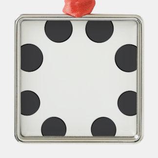 Checkered DarkGrey Dots Metal Ornament