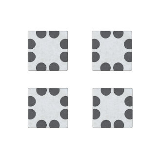 Checkered DarkGrey Dots Stone Magnets