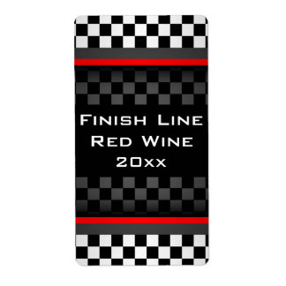 Checkered Design Homemade Wine Label Shipping Label