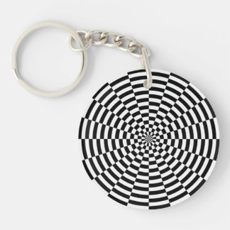 checkered Double-Sided round acrylic keychain