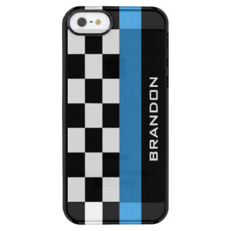 Checkered Flag and Racing Stripe Design Phone Case