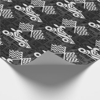 Checkered Flag and Racing Theme Black and White Wrapping Paper