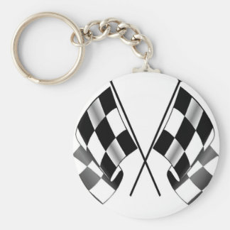 checkered flag basic round button keychain