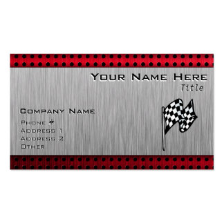 Checkered Flag; brushed aluminum look Business Card Templates