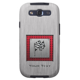 Checkered Flag brushed aluminum look Galaxy S3 Cases