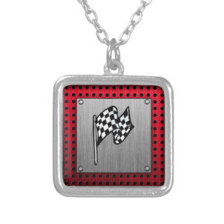 Checkered Flag; brushed aluminum look Silver Plated Necklace