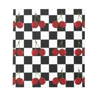 CHECKERED FLAG CHERRIES PATTERN NOTEPAD