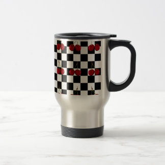 CHECKERED FLAG CHERRIES PATTERN TRAVEL MUG