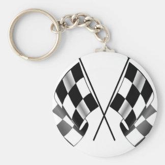 checkered flag basic round button keychain