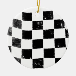 Checkered Flag Double-Sided Ceramic Round Christmas Ornament