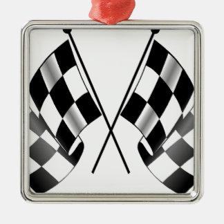 checkered flag Silver-Colored square ornament