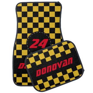 Checkered Flag Pattern   Black & Golden Yellow Auto Mat