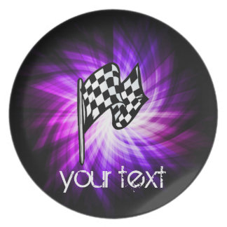 Checkered Flag; purple Plate