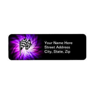 Checkered Flag; purple Return Address Label