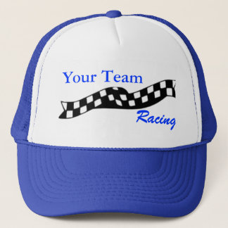 Checkered Flag Swoop Race Team Hat